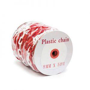 red white plastic chain